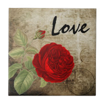 Vintage Red Love Rose Ceramic Tile
