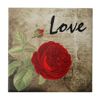 Vintage Red Love Rose Ceramic Tile