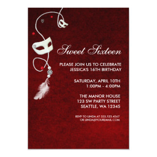 Vintage Red Masquerade Sweet Sixteen Birthday 5x7 Paper Invitation Card