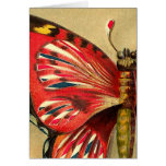 Vintage Red Moth Greeting Card