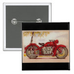 Vintage Red Motorcycle 2 Inch Square Button
