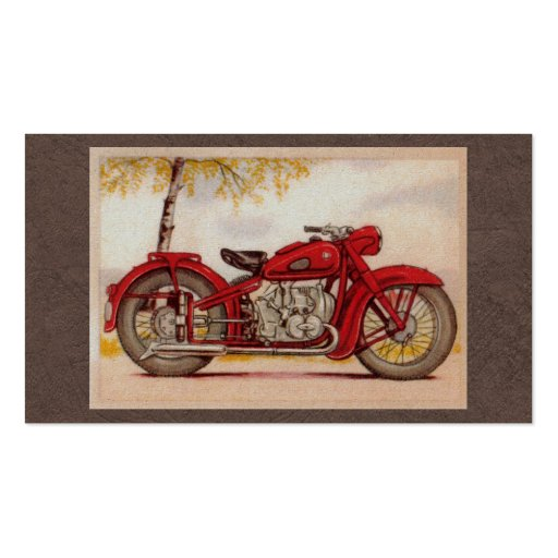 Vintage Red Motorcycle Business Card