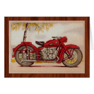 Vintage Red Motorcycle Stationery Note Card