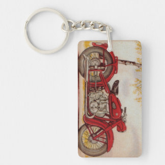 Vintage Red Motorcycle Keychain