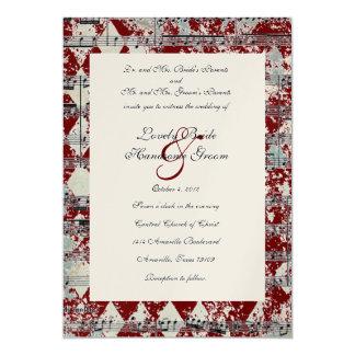 Vintage Red Music Chevron Wedding Invitation