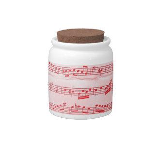 Vintage Red Musical Sheet Candy Jar