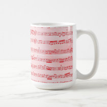 Vintage Red Musical Sheet Coffee Mug