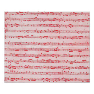 Vintage Red Musical Sheet Poster
