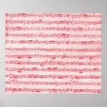 Vintage Red Musical Sheet Print