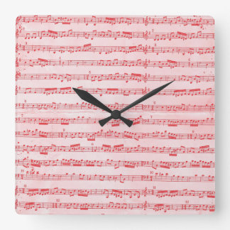 Vintage Red Musical Sheet Square Wall Clock