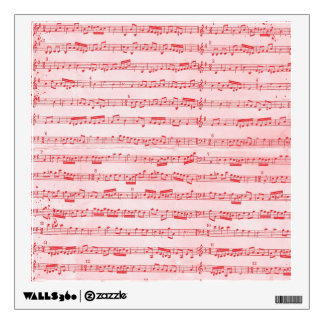 Vintage Red Musical Sheet Wall Sticker