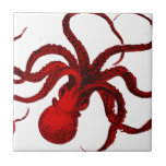 """Vintage Red Octopus Ceramic Tile<br><div class=""""desc"""">Vintage nautical beast wreaking havoc in your house. Digitally re-colored.</div>"""