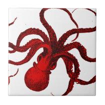 Vintage Red Octopus Ceramic Tile