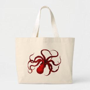 Vintage Red Octopus Large Tote Bag
