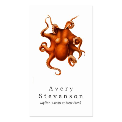 Vintage Red Octopus Marine Biology Nautical 2 Business Cards