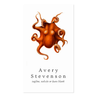 Vintage Red Octopus Marine Biology Nautical 2 Double-Sided Standard Business Cards (Pack Of 100)