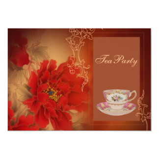 vintage red Paeonia Double Happines Tea Party Card