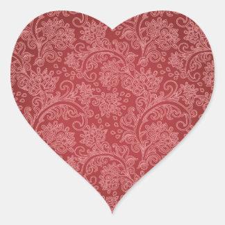 Vintage Red Paisley Damask Design Heart Sticker