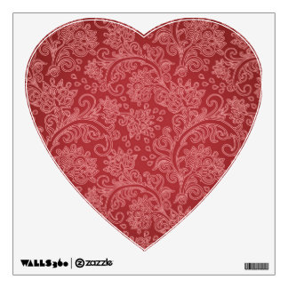 Vintage Red Paisley Damask Design Wall Decor