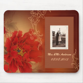 Vintage Red Peony Chinese Wedding Mouse Pad