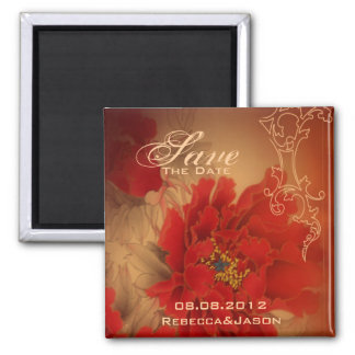 Vintage Red Peony Chinese Wedding save the date 2 Inch Square Magnet
