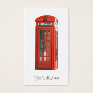 Vintage Red Phone Booth Business Card