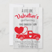 Vintage Red Pick Up Truck Valentine's Day Invite