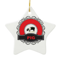 vintage red pig label ceramic ornament