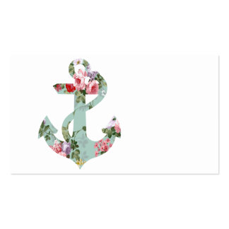 Vintage Red Pink Green Floral Pattern Anchor Double-Sided Standard Business Cards (Pack Of 100)