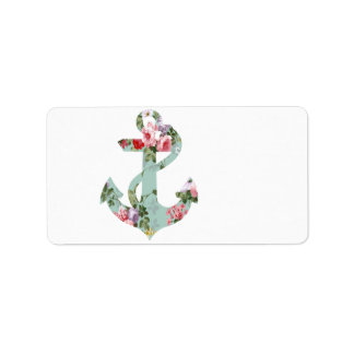 Vintage Red Pink Green Floral Pattern Anchor Label