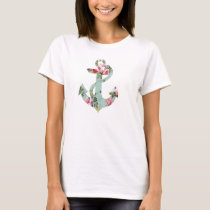 Vintage Red Pink Green Floral Pattern Anchor T-Shirt