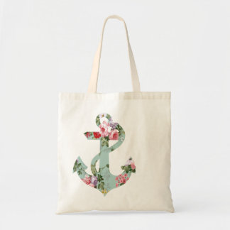 Vintage Red Pink Green Floral Pattern Anchor Tote Bag