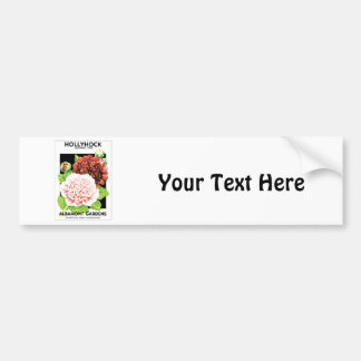 Vintage Red & Pink Ruffled Hollyhock Seed Packet Car Bumper Sticker