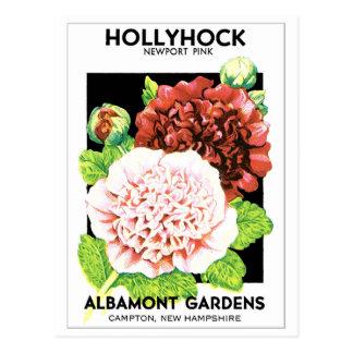 Vintage Red & Pink Ruffled Hollyhock Seed Packet Postcard