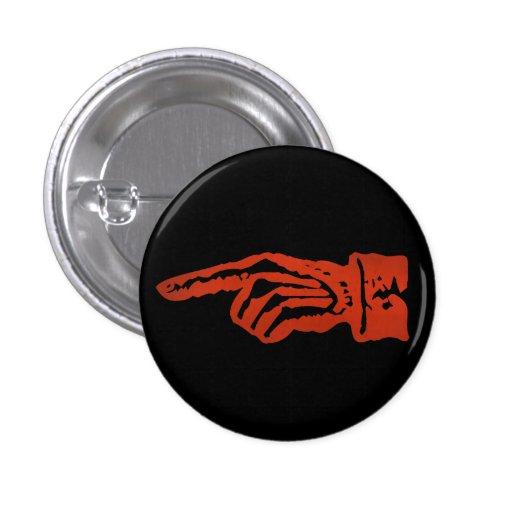 Vintage Red Pointing Hand - dark Pinback Button