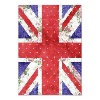 Vintage Red Polka Dots Floral UK Union Jack Flag 3.5x5 Paper Invitation Card