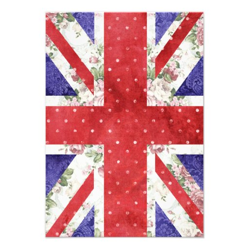 Vintage Red Polka Dots Floral UK Union Jack Flag Personalized Announcement