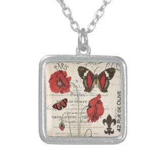 Vintage Red Poppies and Butterflies-charm necklace