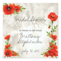 VINTAGE RED POPPIES BRIDAL SHOWER INVITATION