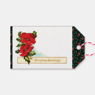 Vintage Red Poppies Gift Tags, Christmas, Holidays Gift Tags