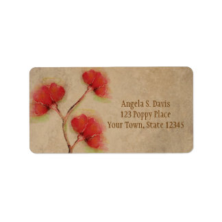 Vintage Red Poppies Parchment Look Label