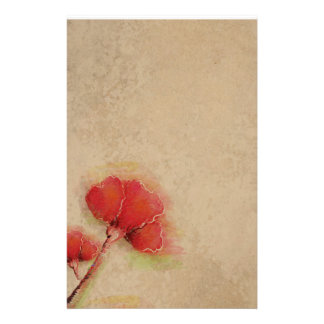 Vintage Red Poppies Parchment Look Custom Stationery