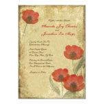 Vintage Red Poppies Wedding Invitations