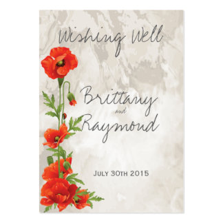 VINTAGE RED POPPIES WISHING WELL GIFT CARD INSERT LARGE BUSINESS CARD