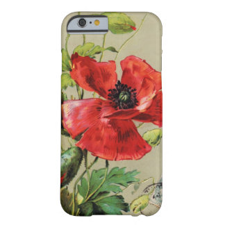 VINTAGE RED POPPY FLOWER IN GREY BARELY THERE iPhone 6 CASE