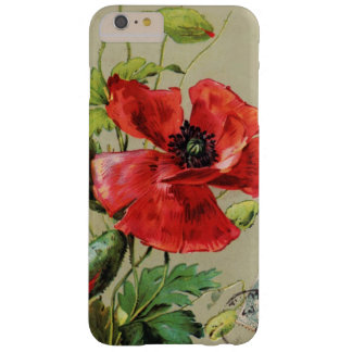 VINTAGE RED POPPY FLOWER IN GREY BARELY THERE iPhone 6 PLUS CASE