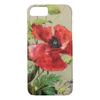 VINTAGE RED POPPY FLOWER IN GREY iPhone 7 CASE