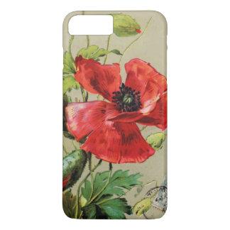VINTAGE RED POPPY FLOWER IN GREY iPhone 7 PLUS CASE