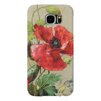 VINTAGE RED POPPY FLOWER IN GREY SAMSUNG GALAXY S6 CASE
