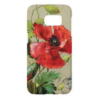 VINTAGE RED POPPY FLOWER IN GREY SAMSUNG GALAXY S7 CASE